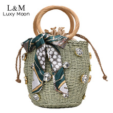 Women Summer Woven Bucket Bag For Female Beach Bags Diamond