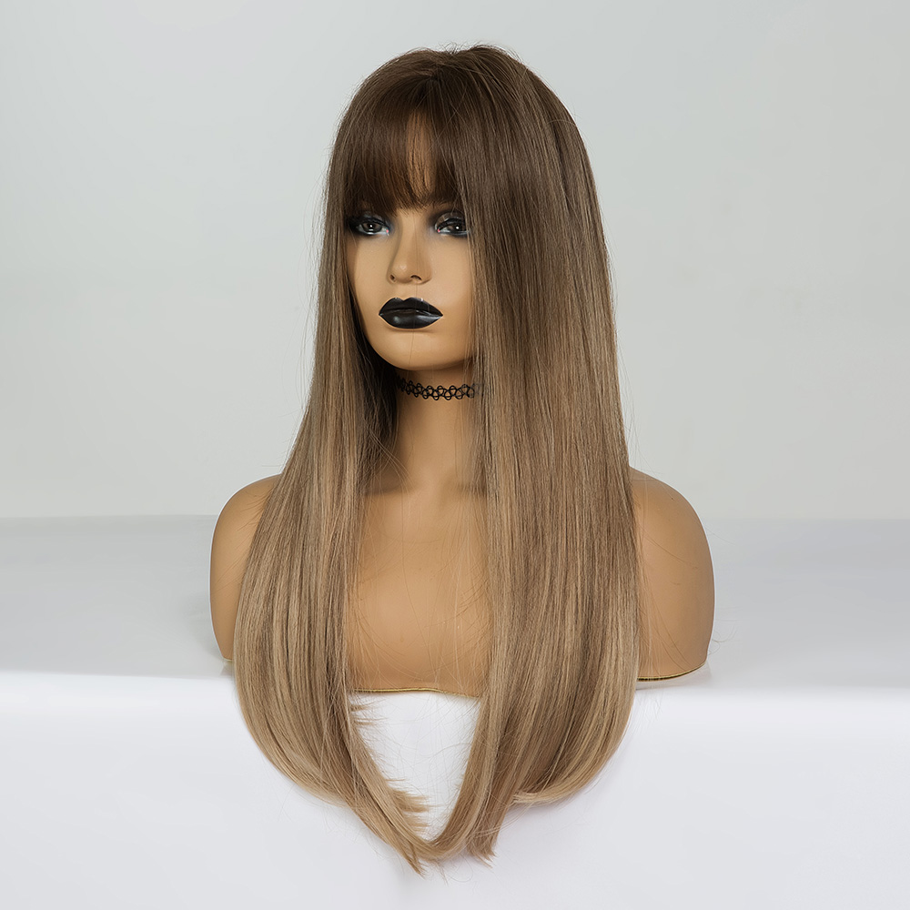 Image 5 - EASIHAIR Long Straight Black to Purple Ombre Hair Wigs With Bangs Synthetic Wigs Gluless Heat Resistant Wigs For Black WomanSynthetic None-Lace  Wigs   -
