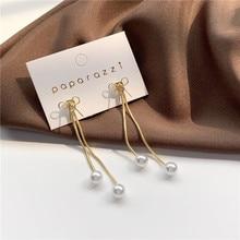 2020 New Korean Vintage Earrings For Women Gold Simple Bowknot Earrings With Long Pearl Tassel Earrings Fashion Jewelry xinhan needle fashion pearl earrings long tassel earrings women simple earrings accessories wholesale