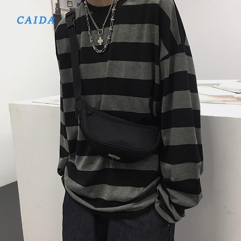 CAIDA 2021 футболка в стиле Харадзюку, в полоску, с длинными рукавами, в винтажном стиле, универсальная модная уличная одежда унисекс