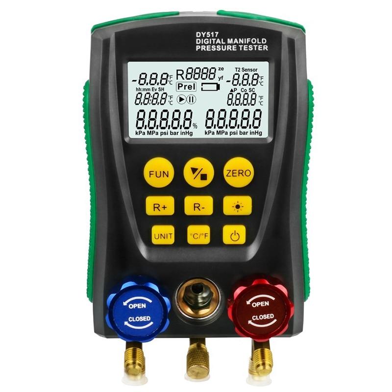 Dy517 Pressure Gauge Refrigeration Digital Vacuum Pressure Manifold Tester Meter Hvac Temperature Tester Valve Tool