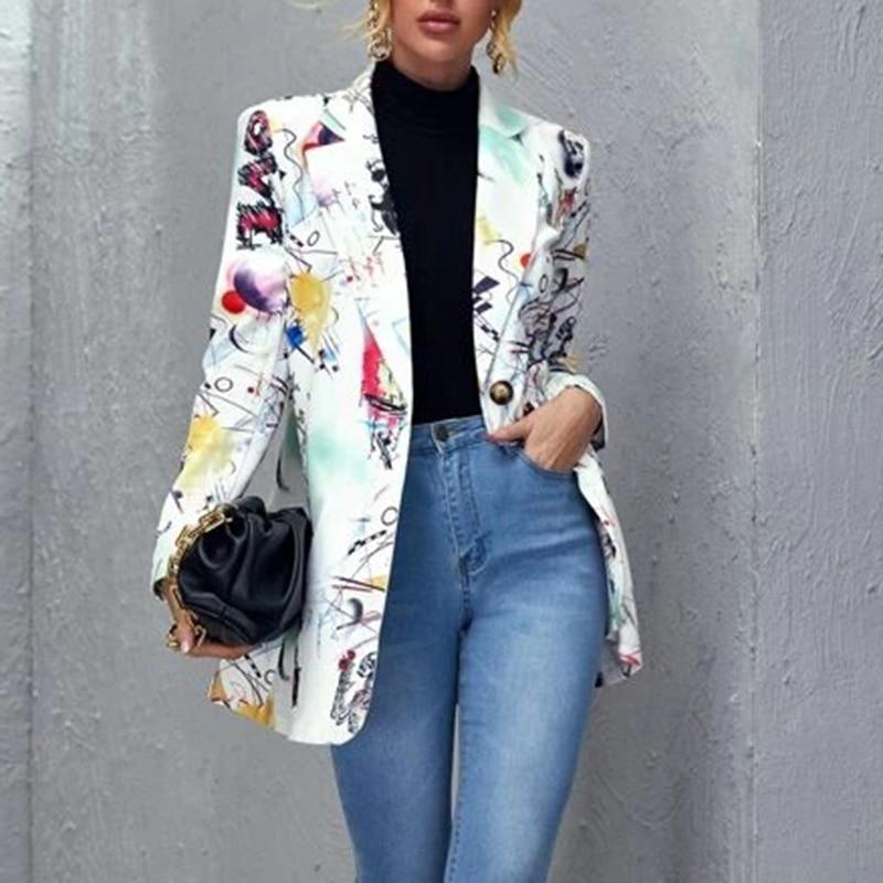 H98ec783e78714b178d9f83e6b775f91fa Fashion Trend Women Lapel Leopard Print Long Sleeves Suit Jacket Elegant Fall Winter Office Lady Cardigan Coat Casual Streetwear