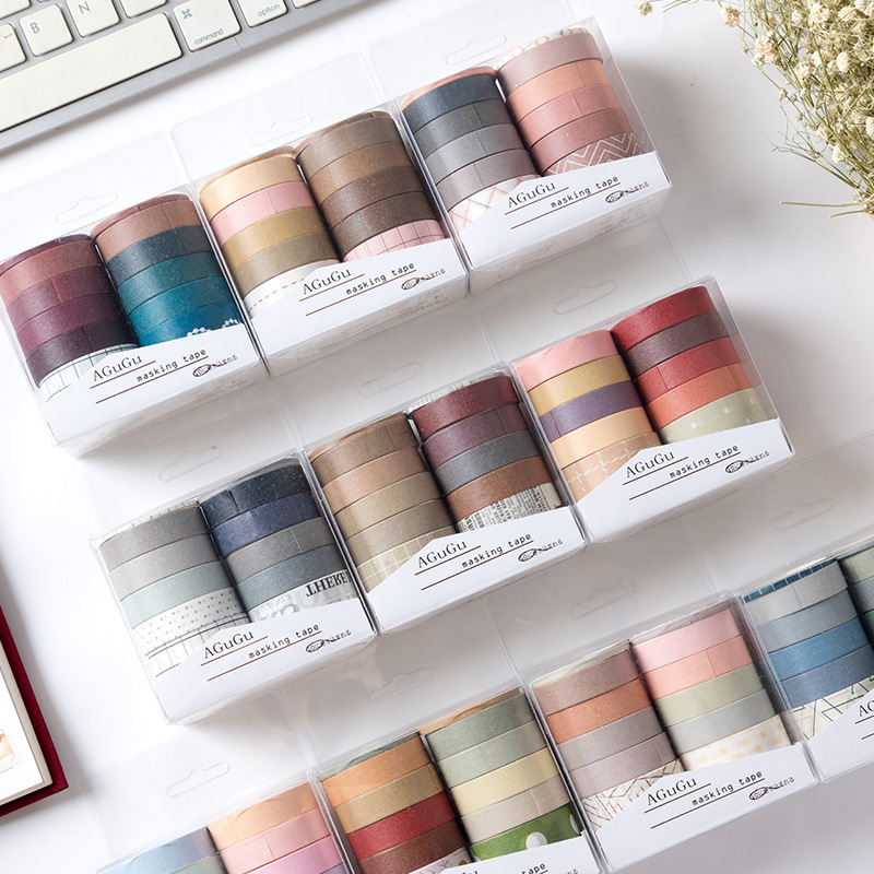 10pcs/lot Solid Color Dot Cute Washi Tape Set Masking Tape Journal Supplies Scrapbooking Paper Stationary Kinds