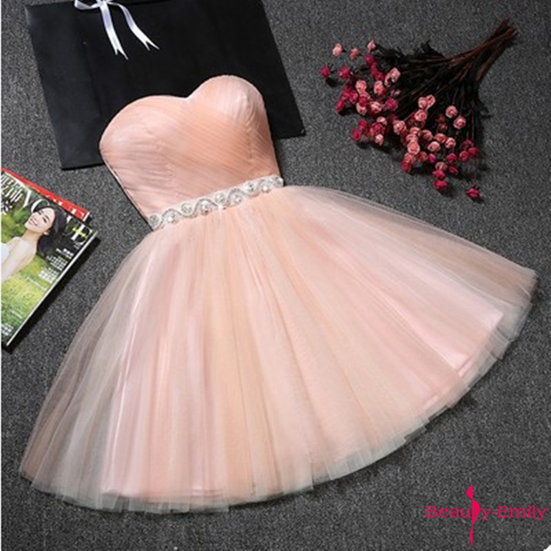 Beauty-Emily Strapless Tulle Bridesmaid Dresses Short Rhinestones Party Dress For Wedding Guests 2020 Vestido De Dama De Honor