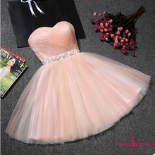 Beauty-Emily Strapless Tulle Bridesmaid Dresses Short Rhines