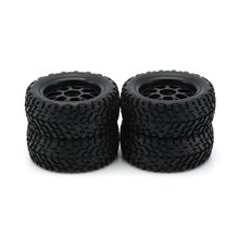 цены 4Pcs Wheel Tyre Rubber Tire With Plastic Hub for 1/10 Scale RC Short-course Truck Anti-skid Surface Rubber Tire RC Accessory