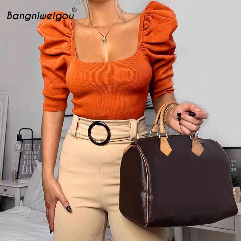 Bangniweigou พัฟสแควร์คอถัก Crop TOP TShirt ผู้หญิงเสื้อฤดูใบไม้ผลิฤดูใบไม้ร่วง Elastic ทำงาน OUT T เสื้อสีขาวสีส้ม