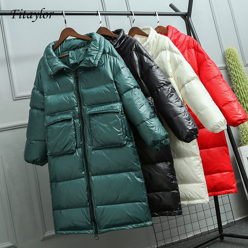 Fitaylor New Winter Loose Long Jacket Women Down Coat Female White Duck Down Jacket Womens Big Pockets Thick Warm Overcoat