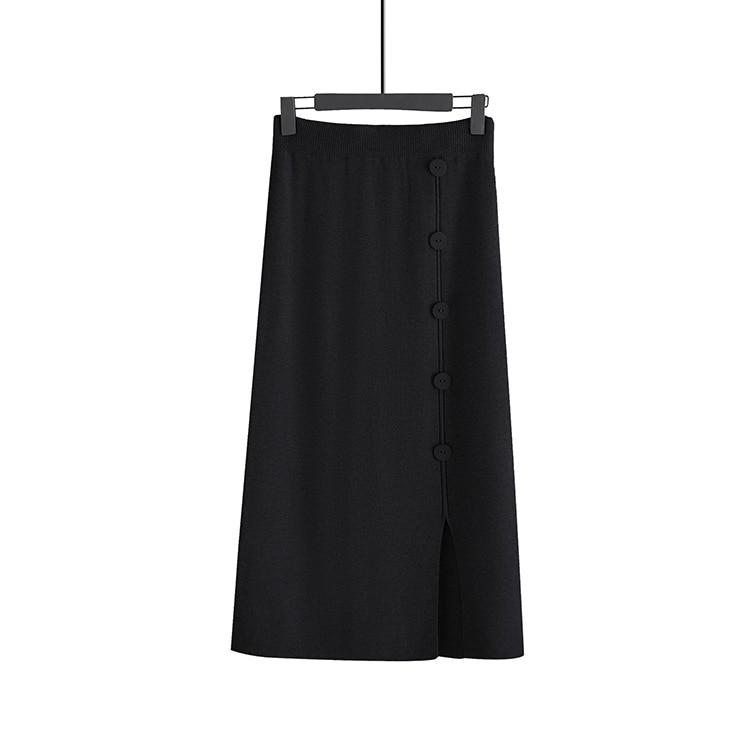Women A-line knitte Skirts Winter Warm High Waist Skirts Girls Chic Solid Long Skirt Falda Mujer Maxi Elastic Waist Jupe Femme