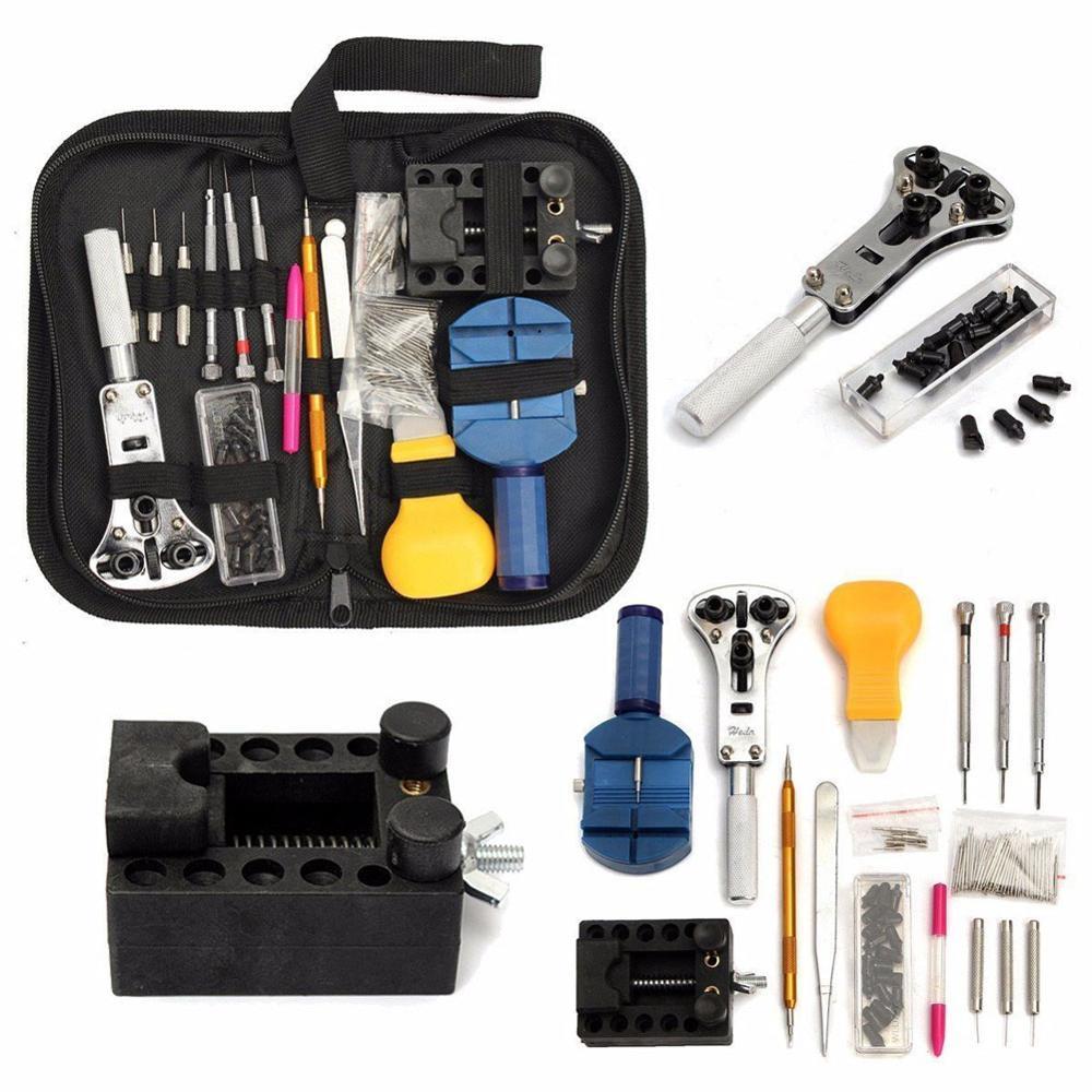 144 pces ferramentas de relógio abridor removedor primavera barra reparação pry chave de fenda relógio ferramenta de reparo kit ferramentas relojoeiro peças