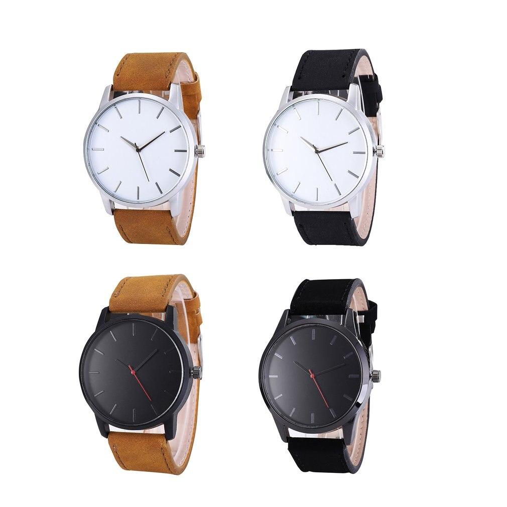 No Calendar Matte Belt Men Watch  Business Big Black Brown Round Luxury Elegant Watch Leather Strap Quartz Sports Ourdoor Watch