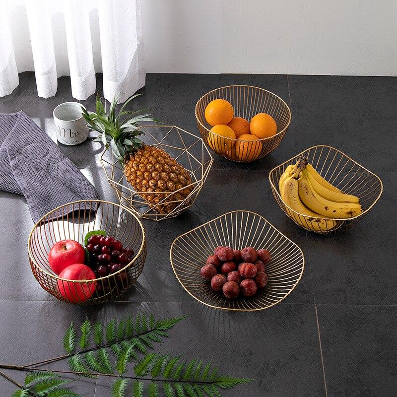 Metal Wire Fruit Plate Kitchen Living Room Storage Basket Kitchen Drain Rack Fruit Vegetable Storage Holder Snack Tray Storage|Storage Baskets|   - AliExpress