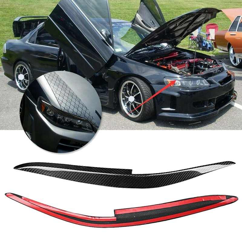 Real Carbon Fiber Headlight Eyelids Eyebrow Cover Kit For Honda Accord 1998-2002