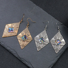 Bohemian Vintage Earrings For Women 2019 Antique Silver Geometric Carving Texture Shells Drop Indian Jewelry Pendientes