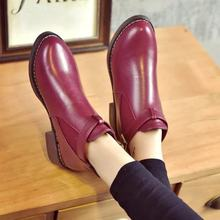 Women Ankle Boots Red Autumn Female Shoes Woman Flat Fashion Platform Round Toe Buckle Strap Comfortable Shoes 2019(China)