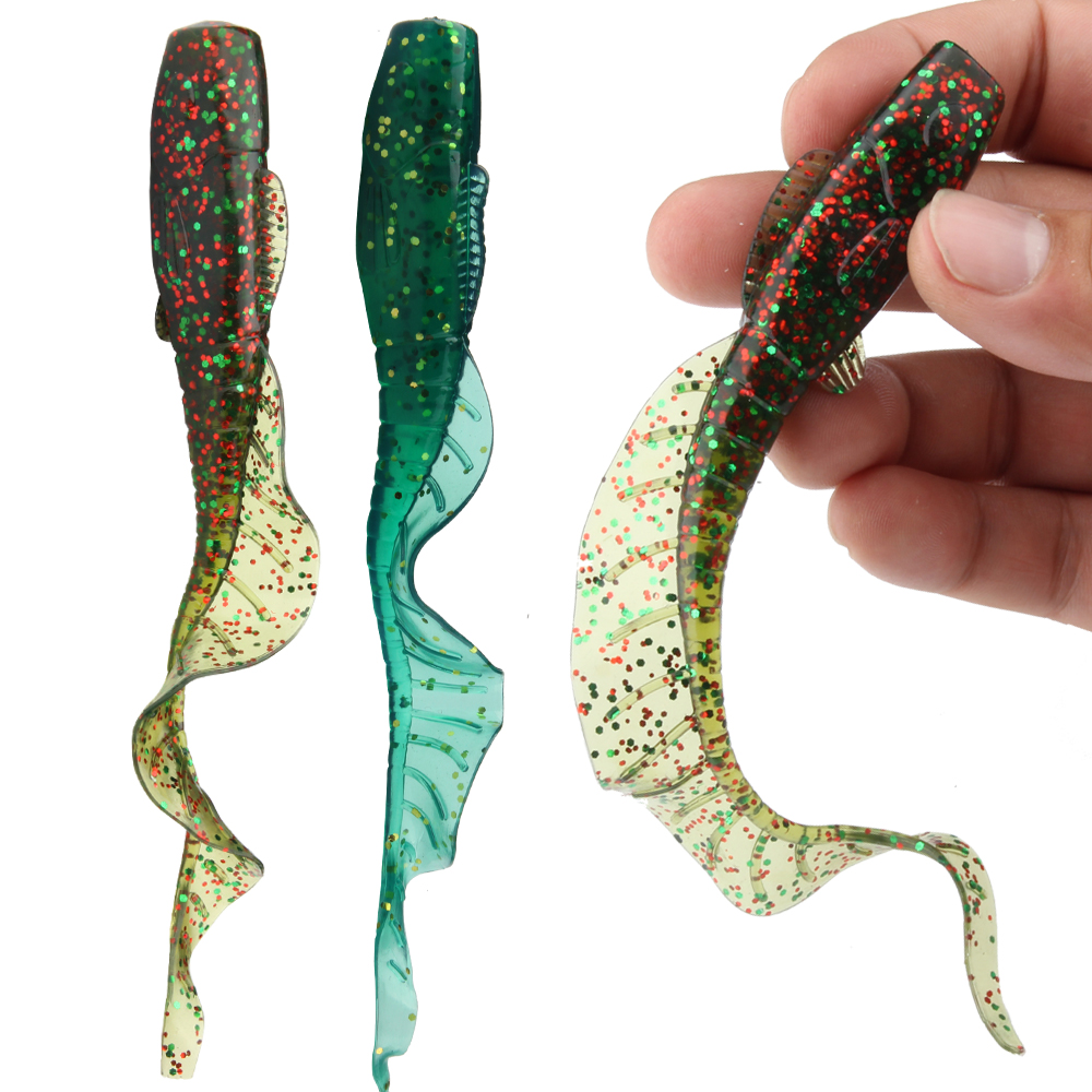 CURLY TAIL Grub worm soft gel glitter LURES  2 packs of 5 lures