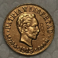 Gola-Banhado EUA 1915 Dólares 1 24-K coin copy 15mm