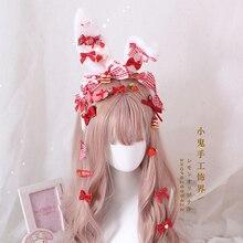 Hair-Accessory Maid Headwear Ear-Headband Handmade Pink Blue Cosplay Strawberry Sweet Lolita