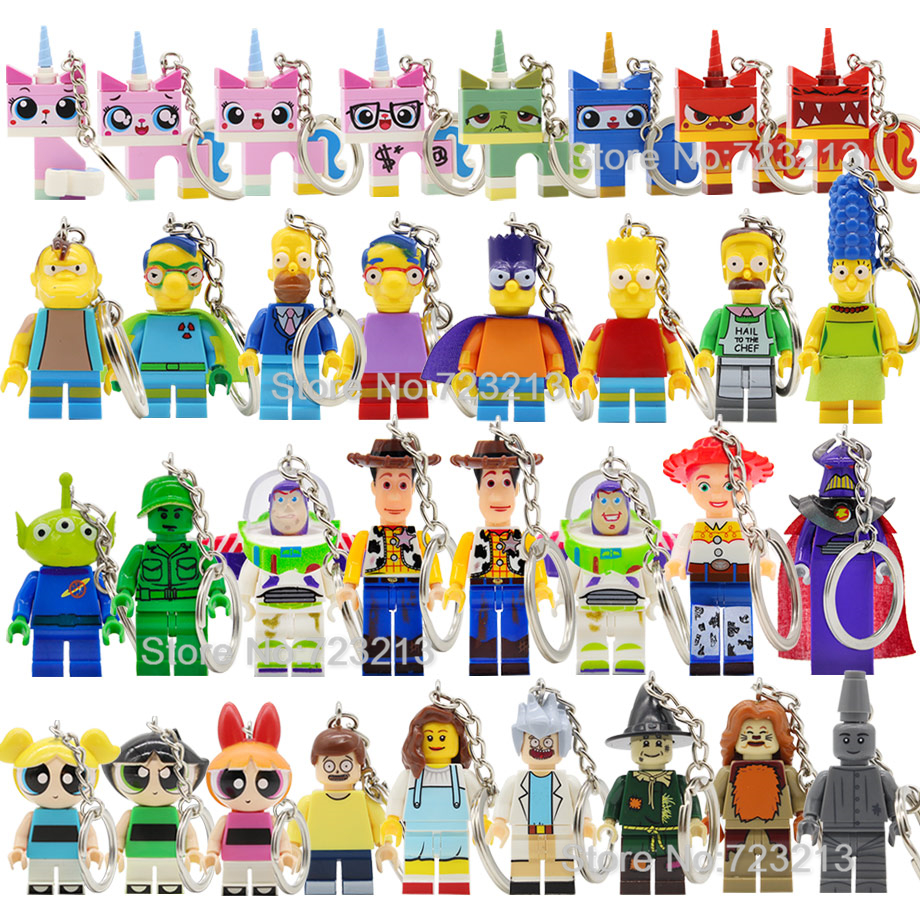 Hot Cartoon Toy Story The Sim The Wizard Of OZ Keychain Figure Bart Buzz Lightyear Woody Cat Building Blocks Models Toys Legoing