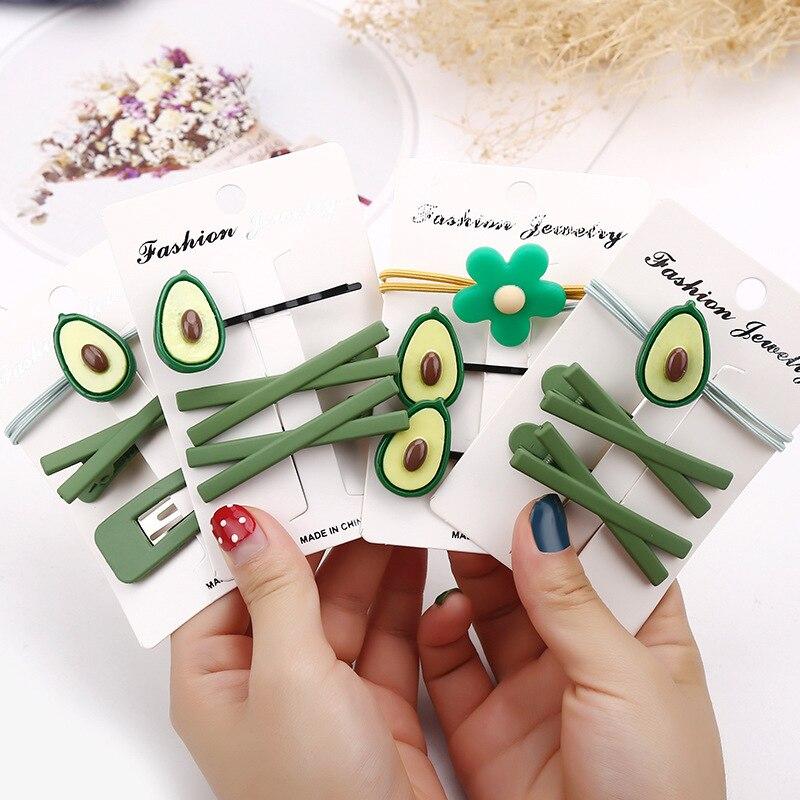 3PCS New Women Girls Cute Avocado Green Hairpins Sweet Headband Hair Clip Lovely Hair Ornament Barrette Fashion Hair Accessories