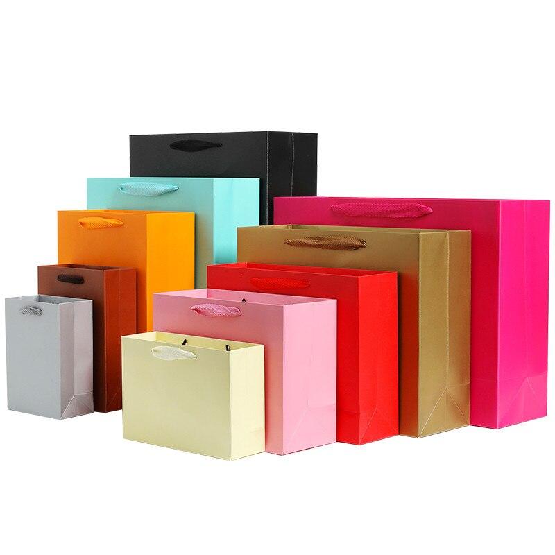 100pcs /10pcs Gift Paper Bag Custom Gift Clothing Shopping Bag Kraft Paper Spot Printing Logo Solid Color Black White Pink