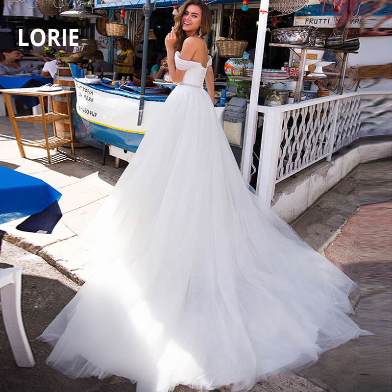 LORIE Off The Shoulder A-Line Lace Up Wedding Dresses White Ivory Wedding Gowns Soft Tulle Bridal Dress 2019 Vestido De Noiva