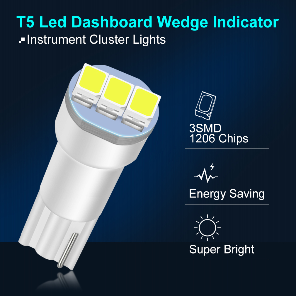 10pcs T5 Led Bulb W3W W1.2W Led Canbus Auto Car Dashboard Lights 3SMD 1206 Warming Indicator Wedge Auto Instrument Led DC 12V