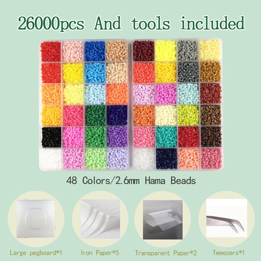 2.6mm/5mm Hama Beads Fuse Perler Iron Beads Tool And Pegboard Education Toy Fuse Bead Jigsaw Puzzle 3D For Children
