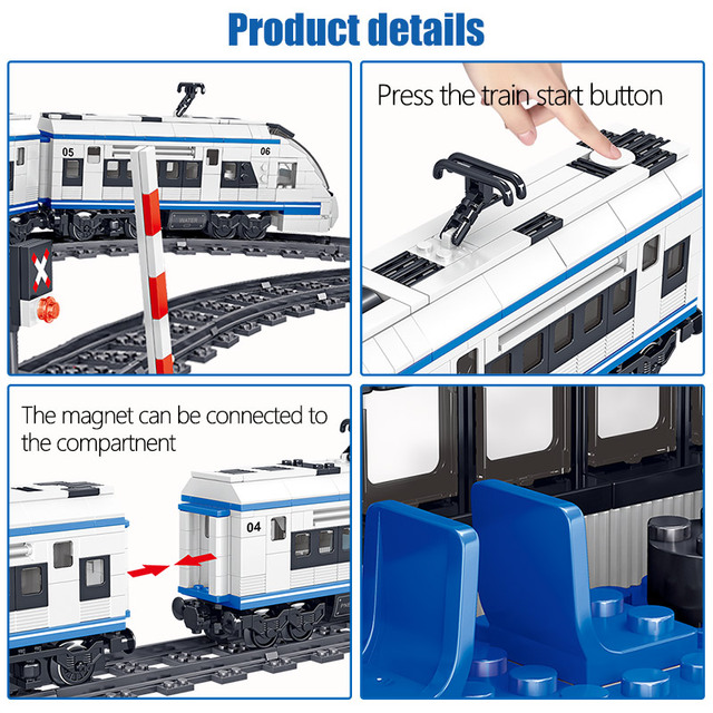 941pcs City RC Electric Train Technic Harmony High-speed Rail Building Blocks Track Car Bricks Educational Toys for Kids