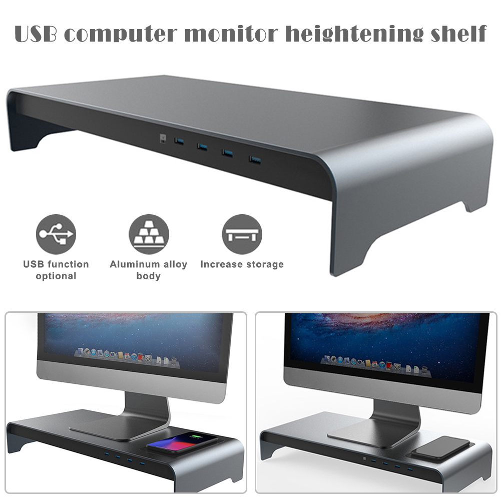 Smart Base Aluminum Alloy Computer Laptop Base Stand With 4 USB 3.0 Port YU-Home