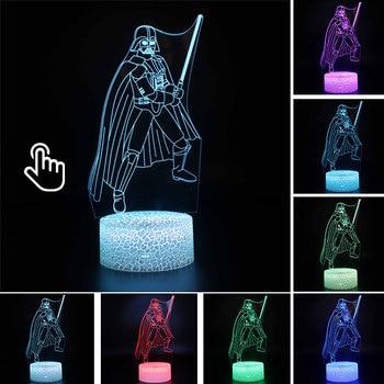 Star Wars Darth Vader Anime Figure Acrylic 3D Illusion LED Lamp Colourful NightLight Death Star Mask Yoda Model Toys Child Gift 15