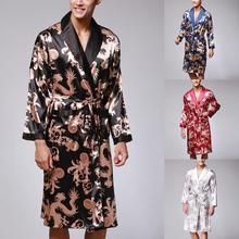 Мужской халат с длинными рукавами, шелковый халат, кимоно, принт, Пижама, халат, ночной халат#2