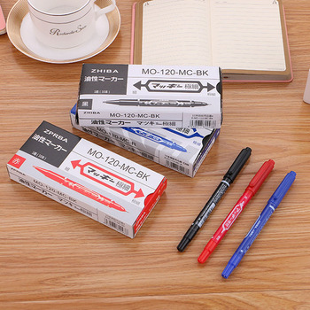 10Pcs/lot Permanent Paint Marker Pen Twin Tips Doubled Headed Hook Line For CD DVD Quick-drying marker board Pens 3 Colors 6mm acrylic paint marker pens permanent non toxic acid free quick dry water based paint pen