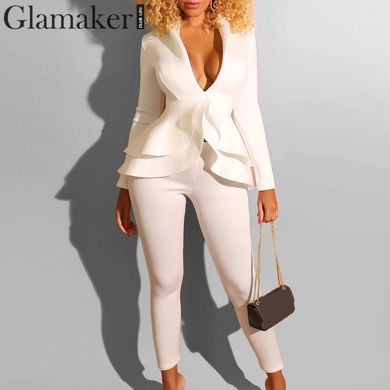 Glamaker Sexy Two Piece Suit Long Sleeve Jumpsuit Women Ruffle Long White Jumpsuit Romper Female Winter Autumn Playsuit Overalls