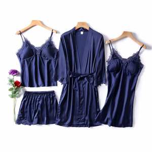 Women's Pajamas Set 4 Pcs Silk Floral Overall Pajama Satin Pyjamas Sexy Lace Pijama Nightie Sleepwear Home Clothes Solid Color
