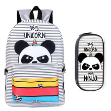 17 Inch Panda Backpacks for Teenagers Girls Boys School Bags Young Women Men Travel Bag Unicorn Children School Backpack цены