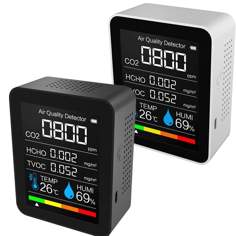 5 в 1 домашний монитор качества воздуха, ЖК цифровые измерители качества воздуха co2, интеллектуальный датчик качества воздуха в реальном вре...