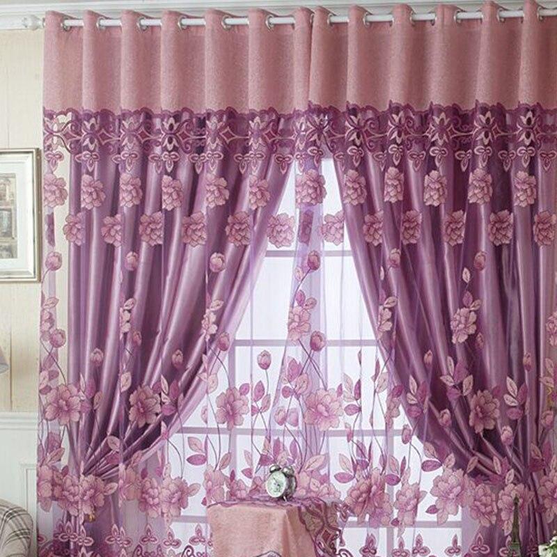 1 Uds. Romántico Floral tul Voile puerta ventana cortina Panel cenefas escarpadas 3x2,9 m cuerda cortina Flash línea brillante borla cuerdas puerta ventana Decorective divisor cortina purpurina cenefa decoración del hogar