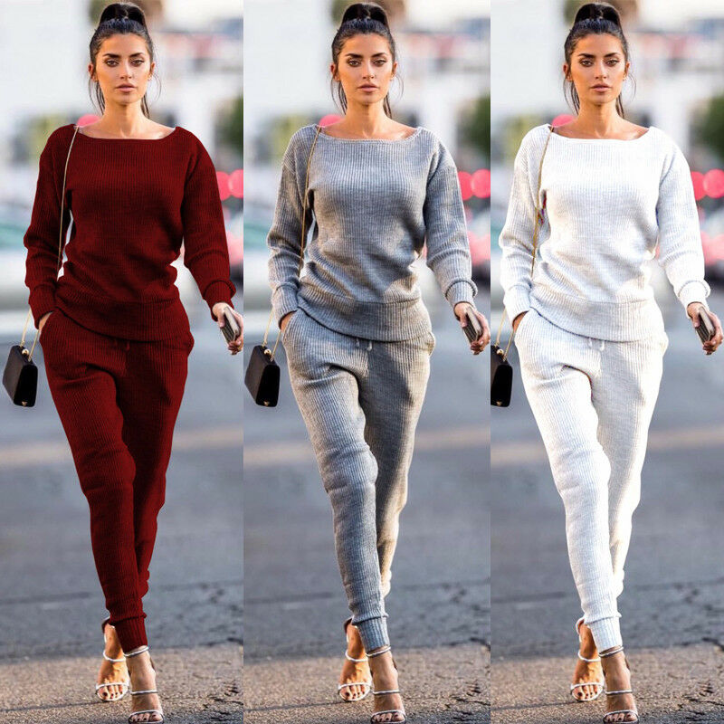 Women Knitted Tracksuits Casual Solid Ribbed 2Pcs Sets Long Sleeve Sweatshirts+Pencil Pants Set Knit Loung Wear Female Sportwear