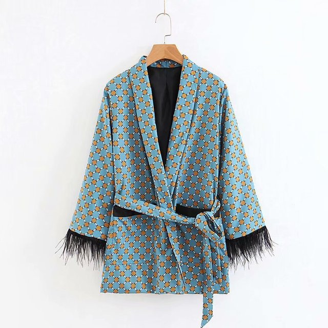 Women's suits 2021 New Arrival Blue Printed Kimono Jacket with Feather Sleeves Wide Leg pants two-piece Vintage Clothing Suits 3