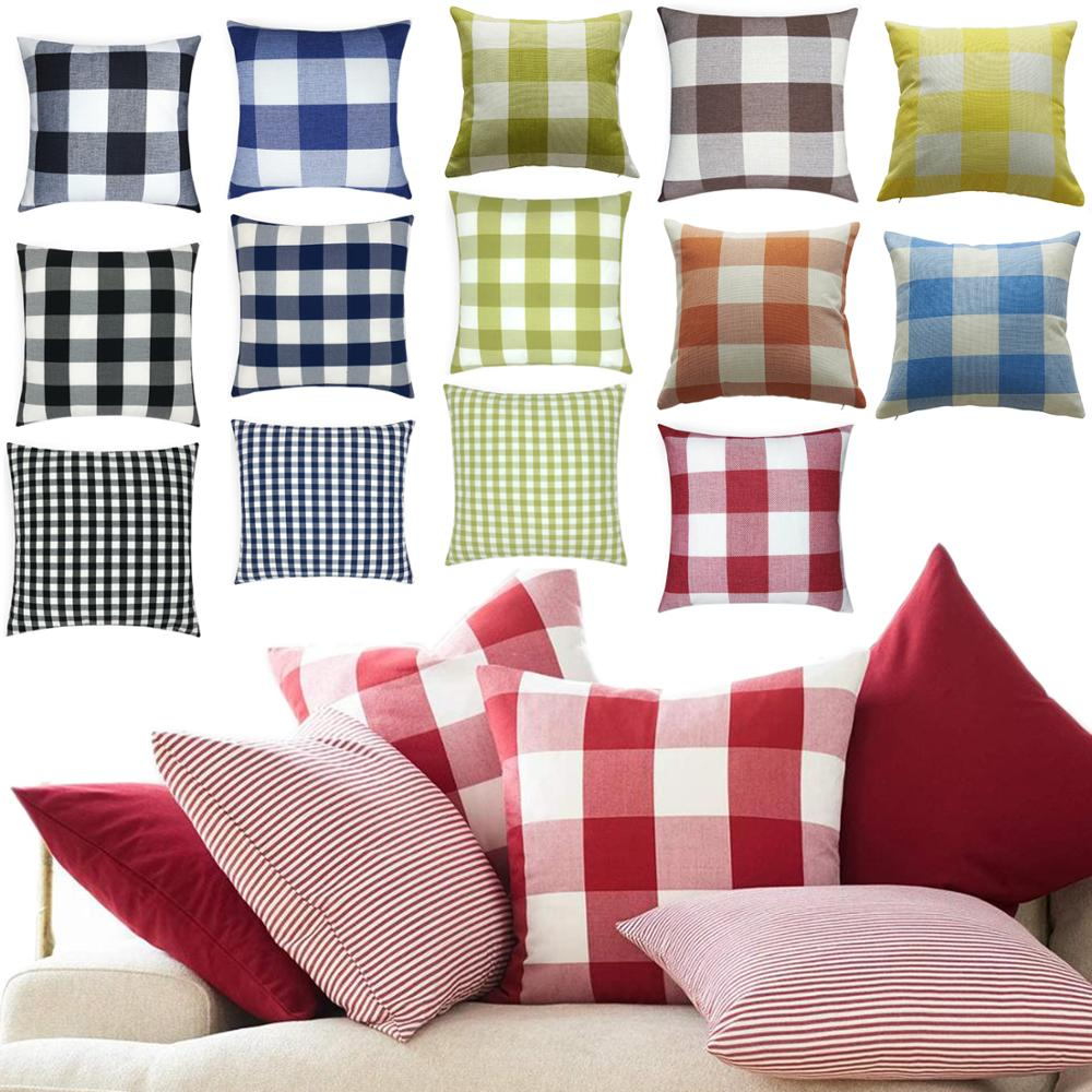 26 Sty Farmhouse Buffalo Check Plaid Throw Pillow Cover Decorative Black White Cushion Cover Cotton Linen Pillow Case Sofa Decor