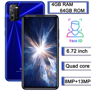 """10X Global 4G LTE Smartphones 4G RAM+64G ROM 8MP+13MP Android Mobile Phones 6.72"""" Face ID Front/Back Camera Celuares Unlocked"""