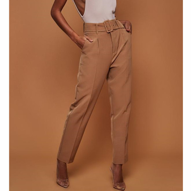Loose Straight High Waist Pants Belt Fashion