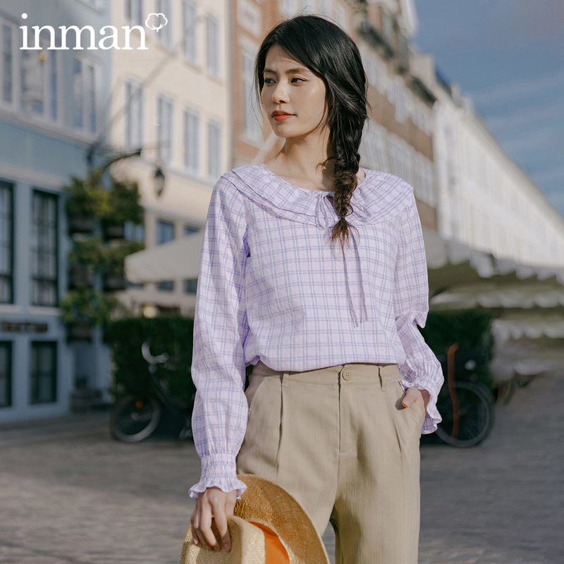 INMAN 2020 Spring New Arrival Cotton Falbala Lapel Lace-up Check Petal Sleeve Blouse