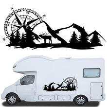 2x zawieszenie naklejki samochodowe naklejki stylizacja naklejka duża nawigacja kompasu W/Mountain Deer dla Camper Motorhome