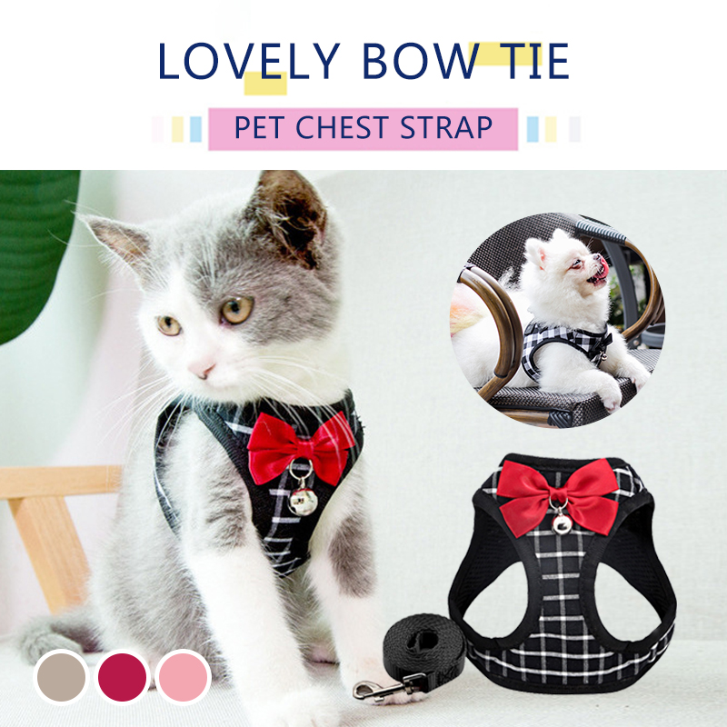 Nylon Mesh Cat Harness Breathable Adjustable Harnesses Leash Set With Bell Cute Bowknot For Kitten Puppy Outdoor Cat Accessories 1