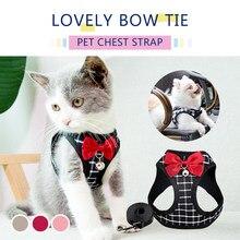 Arnés de malla de nailon para gatos, arneses ajustables transpirables, conjunto de correa con campana, bonito lazo para gatito, cachorro, accesorios para gatos al aire libre