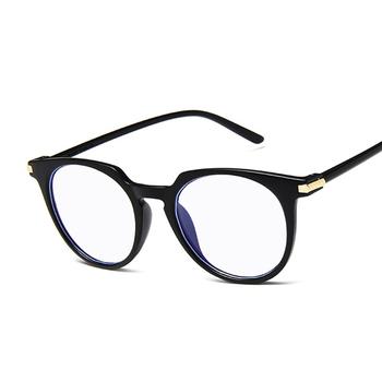 Damskie okrągłe modne duże pełne ramki Vintage kocie oko modne okulary ramka dla kobiet mężczyzn czarne wielokolorowe płaskie lustrzane tanie i dobre opinie AKLFHNC Unisex Z tworzywa sztucznego Stałe