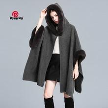 Cloak Cape Overcoat Cashmere Shawl Hooded Pashmina Women Rex-Rabbit-Fur Long Winter New-Fashion