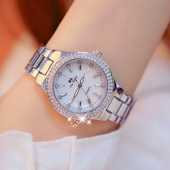 2019 Luxury Brand lady Crystal Watch Women Dress Watch Fashion Rose Gold Quartz Watches Female Stainless Steel Wristwatches 4